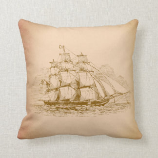 Vintage Sailing Ship Cushion