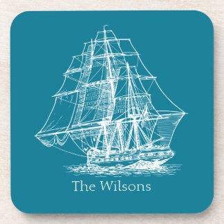 Vintage Sailing Ship Nautical Personalized Coaster