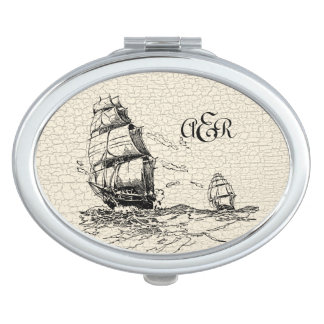 Vintage Sailing Ships Monogram m Crackled Compact Mirror