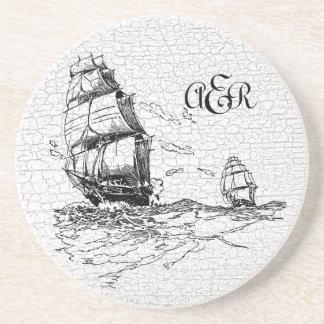 Vintage Sailing Ships Personalized Crackled Coaster
