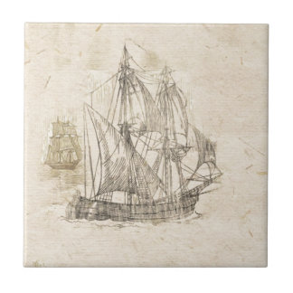 vintage sailing ships small square tile