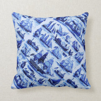 VINTAGE SAILING VESSELS AND SHIPS,Navy Blue Cushions