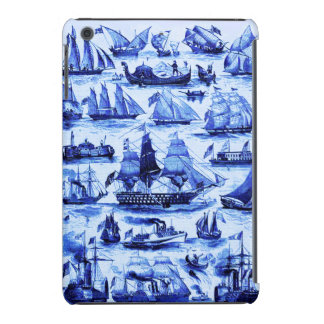 VINTAGE SAILING VESSELS AND SHIPS,Navy Blue iPad Mini Retina Cover