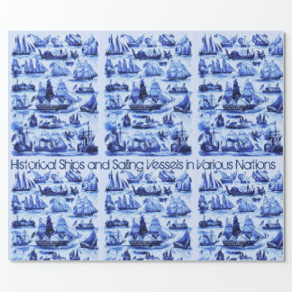 VINTAGE SAILING VESSELS AND SHIPS,Navy Blue Wrapping Paper