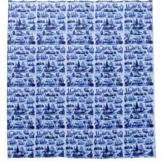 VINTAGE SAILING VESSELS,SHIPS OF VARIOUS NATIONS SHOWER CURTAIN