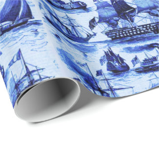 VINTAGE SAILING VESSELS,SHIPS OF VARIOUS NATIONS WRAPPING PAPER