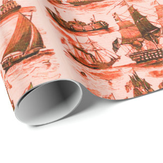 VINTAGE SAILING VESSELS,SHIPS,VARIOUS NATIONS Red Wrapping Paper