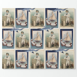 VINTAGE SAILOR BOY ,SAILBOATS,ANCHORS AND SEAGULLS WRAPPING PAPER