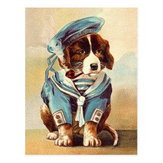 Vintage Sailor Dog Postcard