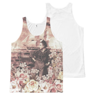 Vintage Sailor Floral All-Over Print Tank Top