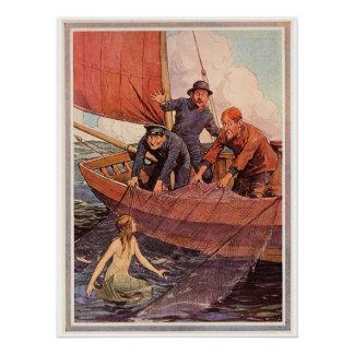 Vintage Sailors Mermaid Catch