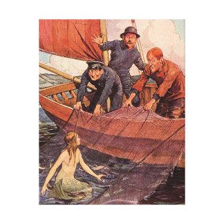 Vintage Sailors Mermaid Catch Canvas Print