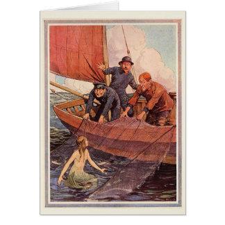 Vintage Sailors Mermaid Catch Card
