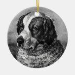 Vintage Saint Bernard Dog art Christmas Ornament
