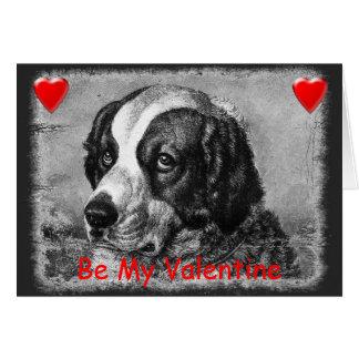 Vintage Saint Bernard Valentines Day Card