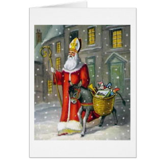 Vintage Saint Nicholas and Donkey Greeting Card
