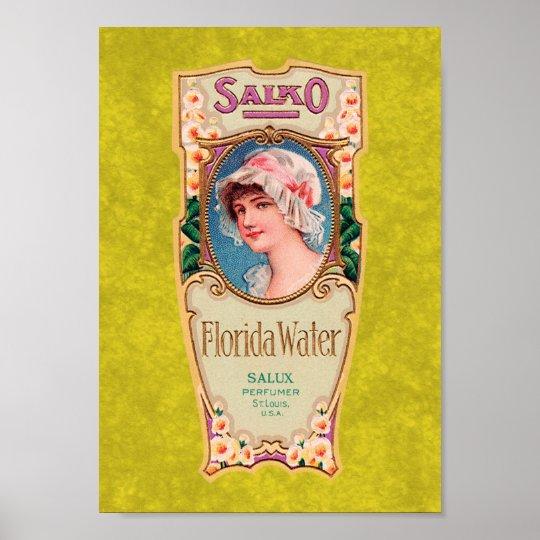Vintage Salko Florida Water Perfume Label Poster