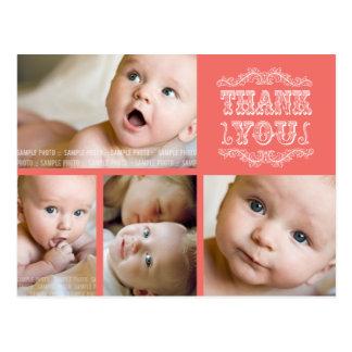 VINTAGE Salmon 4 Photo Baby Thank You Post Card
