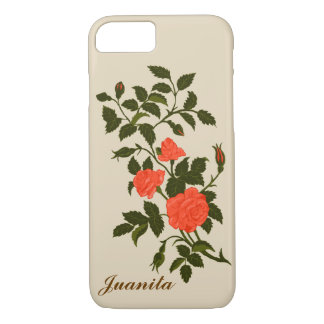 Vintage Salmon Coral Colored Ornamental Roses iPhone 8/7 Case