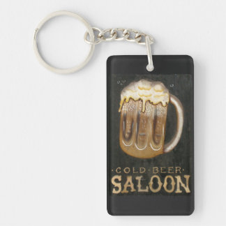 Vintage Saloon Beer Sign Double-Sided Rectangular Acrylic Key Ring