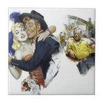 Vintage Saloon Girl Cowboy Bar Dance Fun poster Small Square Tile