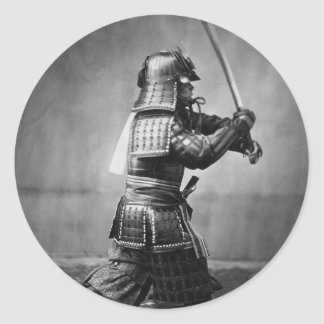 Vintage Samurai with Sword and Dagger Round Sticker