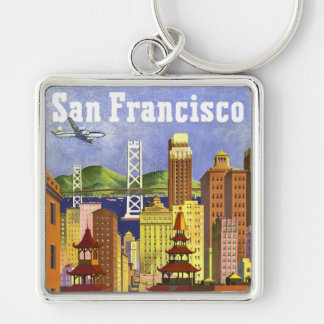 Vintage San Francisco Silver-Colored Square Key Ring