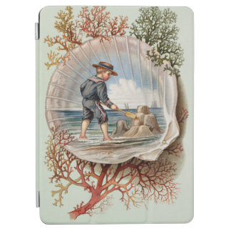 Vintage Sandcastle Little Boy Beach Scene iPad Air Cover