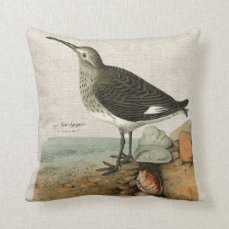 Vintage Sandpiper by the Sea Cushion