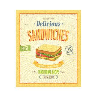 Vintage Sandwiches Poster Stretched Canvas Prints