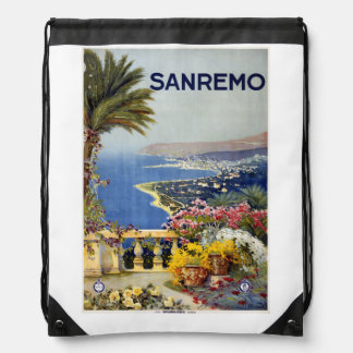Vintage Sanremo Italy backbag Drawstring Bag