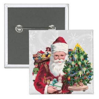 Vintage Santa 15 Cm Square Badge