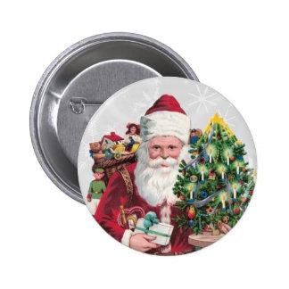 Vintage Santa 6 Cm Round Badge