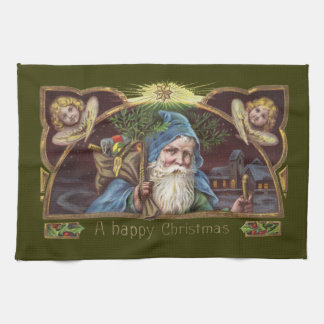 Vintage Santa and Angels Tea Towel