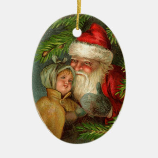 Vintage Santa and Child Ornament