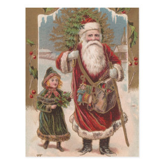 Vintage Santa and Child Post Card