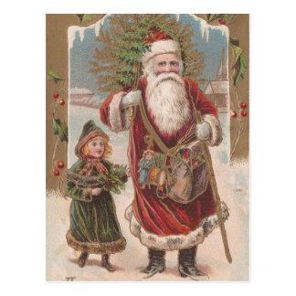 Vintage Santa and Child Postcard