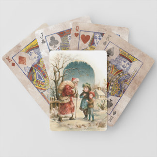 Vintage Santa and Children Bicycle Playing Cards