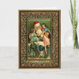Vintage Santa and Children Christmas Card