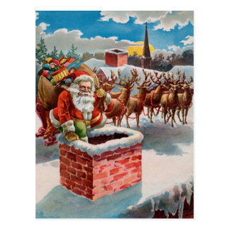Vintage Santa and Chimney Postcard