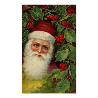 Vintage Santa and Holly Poster