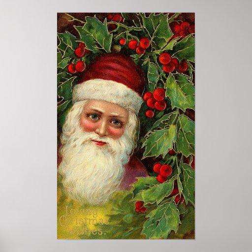Vintage Santa and Holly Poster