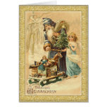 Vintage Santa and little girl German Christmas Greeting Cards