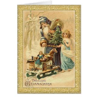 Vintage Santa and little girl German Christmas Greeting Card
