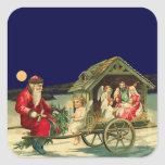 Vintage Santa and nativity scene Square Sticker