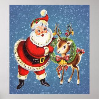 vintage santa and reindeer poster