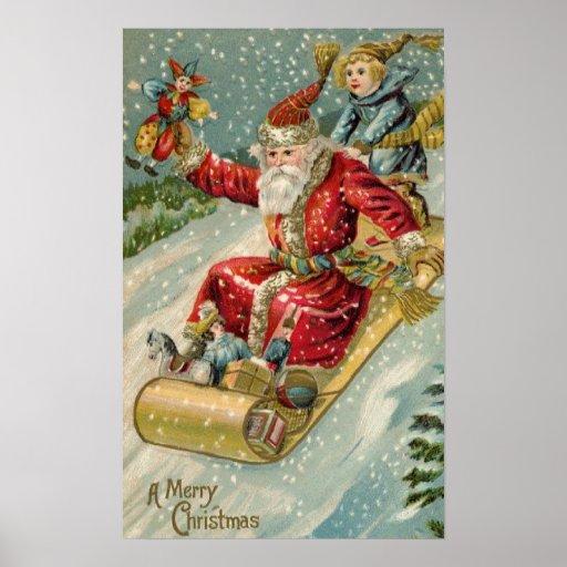 Vintage Santa And Sled Posters