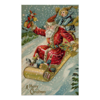 Vintage Santa And Sled Posters
