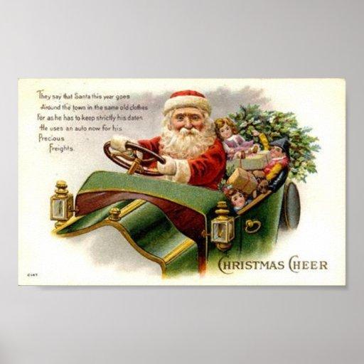 Vintage Santa and Sleigh Christmas Cheer Poster