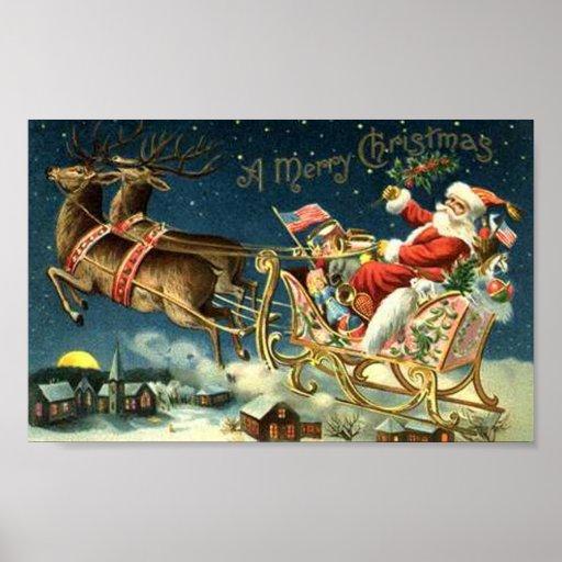 Vintage Santa and Sleigh Poster
